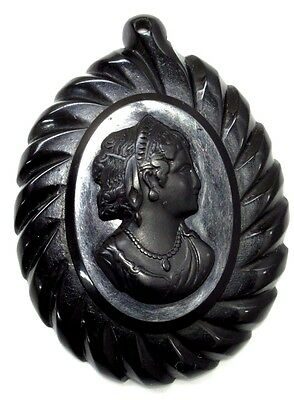 "Antique Victorian Carved WHITBY JET CAMEO Pendent Mourning Jewelery 3"" x 2-11/16"