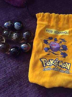 10 Collectible Vintage Pokemon Glass Shooter Marbles Yellow Bag #109 KOFFING
