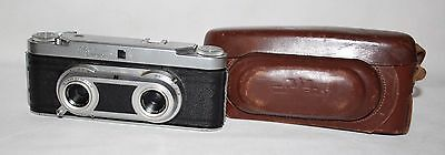 Wirgin Edixa Stereo II - 1955 Stereo Camera, Cassar Lenses, Case - Working