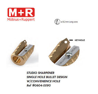 Mobius and Ruppert (M+R) 0604-90 BULLET SHAPED BRASS Pencil sharpener w KEYHOLE