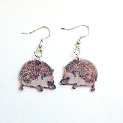 Hedgehog Hedgie Earrings Handmade Plastic Made in USA