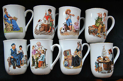 Norman Rockwell Museum Collection Coffee Cups Set Of 8 In Very Good Condition