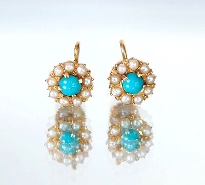 18K Yellow Gold Turquoise and Seed Pearl Round Screw Back Earrings