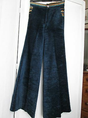 Pair Vintage 1970's Blue Velvet Needlecord Flared Trousers By Adamo