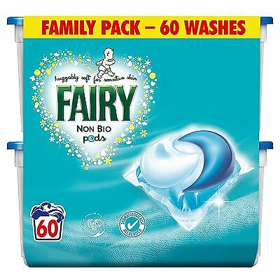Fairy Non-Bio Pods Laundry Detergent Washing Capsules Sensitive Skin - 60 Washes