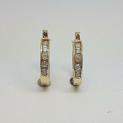 Fabulous 10ct Gold 10pt Diamond Hoop Earrings.  Goldmine Jewellers.