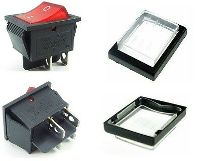 Rocker Switch Red ON-OFF 4 Pin 240V 16A peak with Weatherproof Cover