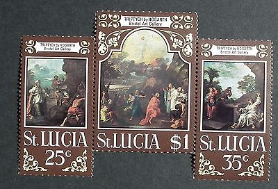 St Lucia (1970) Easter Paintings / Triptych by Hogarth / Art  - Mint (MNH)