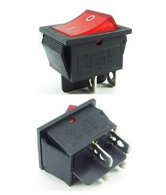 Mains Rocker Switch On Off DPST Red 15A 240v / 250V 10A operating