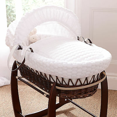 Deluxe DARK WICKER / WHITE Marshmallow Baby Moses Basket With Mattress