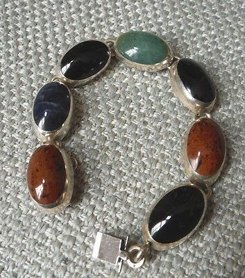 Taxco Mexico Mexican Sterling Silver Multi Stone Bracelet--Substantial--43 Grams