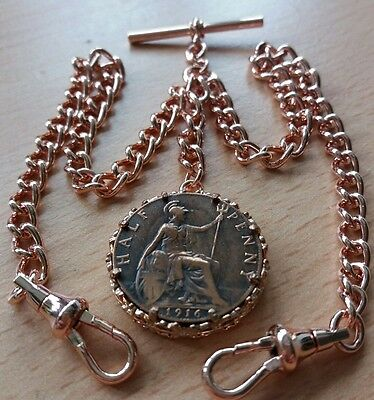 WW1 1916 Half Penny Coin Fob Rolled Rose Gold Double Albert Pocket Watch Chain