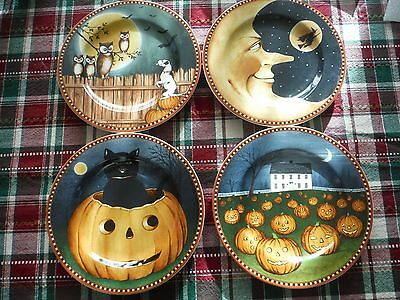 New David Carter Brown-Sakura-Pumpkin Hollow Halloween Salad / Luncheon Plates