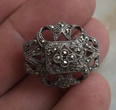 Silver Art Deco Style Brooch Set With Marcasites.