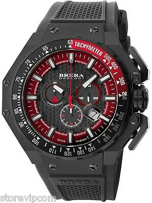 BRERA BRGTC5407 GRAN TURISMO Black IP and Red 54mm Men's Watch Fast Ship New