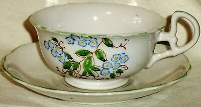Occupied Japan Footed Cup & Saucer Forget Me Nots Green Trim French Backstamp