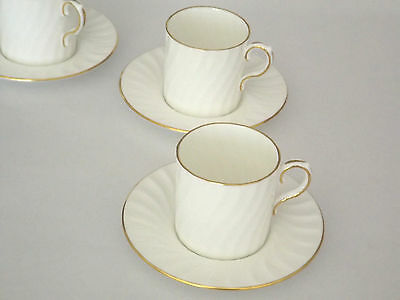 Aynsley England Simplicity Coffee Cup & Saucer White Swirl Gold Trim #060817