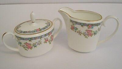 Pretty Coalport Floral Swag English Bone China Lidded Sucrier and Milk Jug.