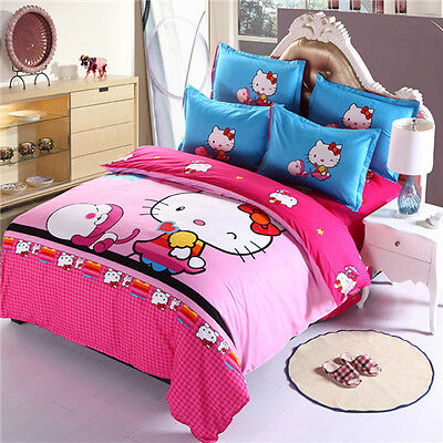 Hello kitty Bedding Set Cover Bed Children Twin And Queen 4 Pieces Sheet Bed Plc