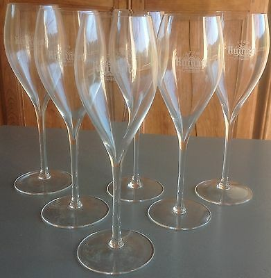 "6  ""ruinart""  Champagne , Crystal Tulip Shaped Glasses, Very Fine And Elegant!"