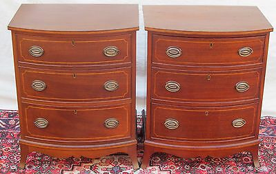 Pair Biggs  Furniture Inlaid Mahogany Federal Styled Bow Front Nightstands