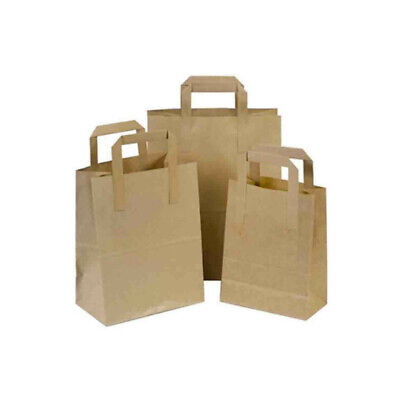Brown Small Kraft Paper Sos Food Carrier Bags X 100 With Handles Party Takeaway