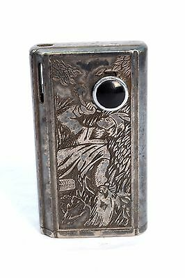 Antique Super Collectible Unique Fine Silver Plated Cigarette Lighter.G19-35