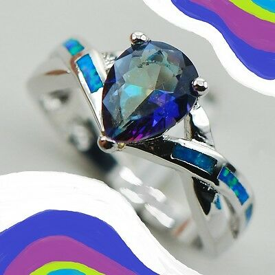 New Size 9 Ring + Gift Box. Flashing Blue Opal And Rainbow Topaz. Free Usa S&h