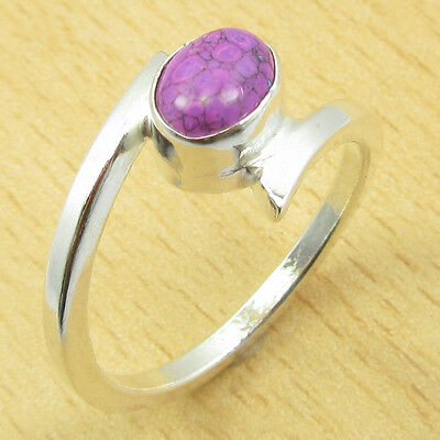 PURPLE COPPER TURQUOISE GEMSTONE Ring Size US 9.25 ! Silver Plated Jewelry NEW