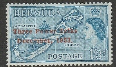 1953 BERMUDA 1/3d MAP o/w THREE POWER TALKS DECEMBER 1953  SG 153 M/MINT