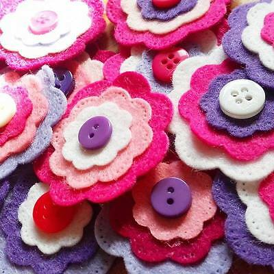Pink Felt Flowers, Felt Flower Embellishments, Flower Appliques PACK OF 10