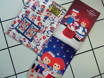 Vtg HALLMARK Raggedy Ann Andy PAPER Centerpieces Gift Bags Table Cover Napkins