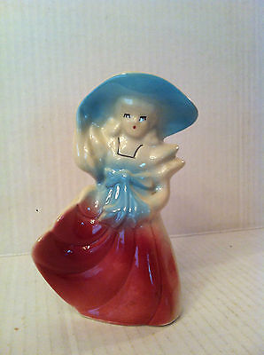 VINTAGE ART POTTERY PLANTER Southern Belle Woman LITTLE GIRL Hat VASE RED BLUE