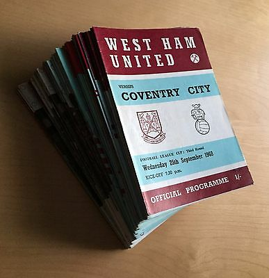 WEST HAM - 1968 to 1983 Job Lot 34 home programmes : listed, no duplicates