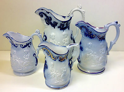 "Set of Four Graduated ""Blue & White"" Jugs"