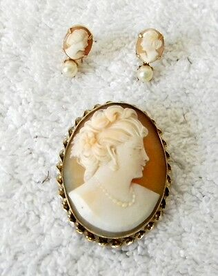 Mark Amco cameo brooch and earrings set - 12K gold filled
