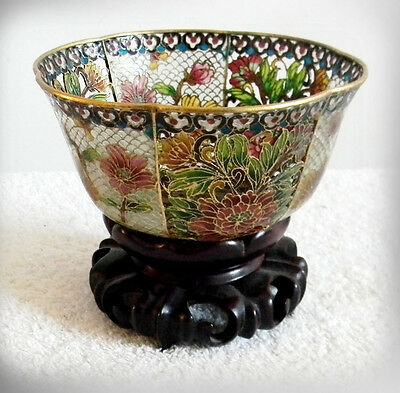 Plique A Jour bowl with wooden stand - floral and pierced design -FREE SHIPPING