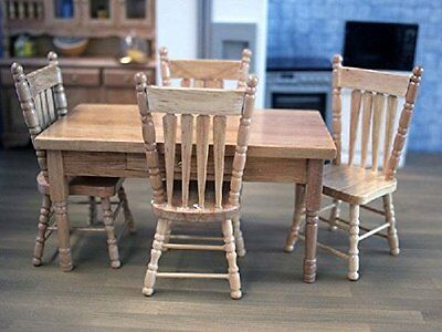 Dolls House Miniature 1:12th Scale Oak Table & Chairs Set