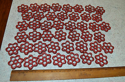 HUGE LOT 45 Industrial Metal Faucet RED Handle Knob Steampunk Art Cast Salvage