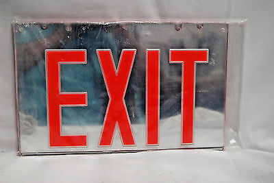 Emergency Exit Sign - Two-Sided Mirror Panel Only -  Red/silver (New) (#s7483)
