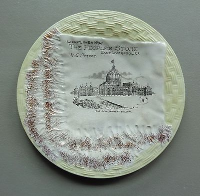 Vtg Dresden China Advertising Plate ME Porter The Peoples Store E Liverpool OH