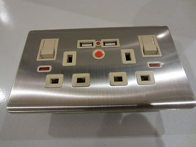 Double Wall Plug Socket 2 Gang 13A with 2 USB Charger Port Outlets Bushed Steel