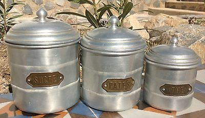 vintage French 1950's aluminium kitchen storage jars, loft, industrial, country