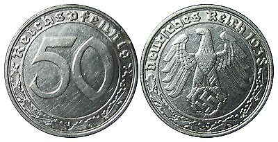 J365 50 Pfennig DRITTES REICH Nickel   1938 J in VZ+  442043