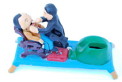 The Dentist Visit Antique Replica Collectors' Die-Cast Iron Mechanical Coin Bank