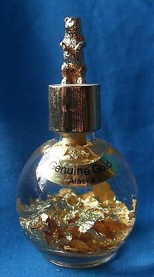 Alaska Souvenier Genuine Gold Flakes in a Bottle with Standing Grizzly Bear lid