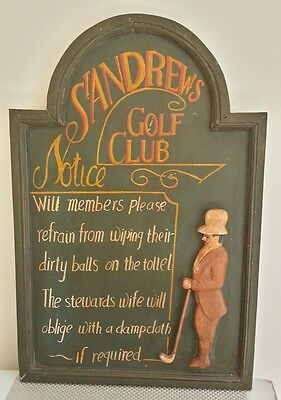 """Vintage """"St Andrews"""" Golf Course Sign. 1970's/80's"""