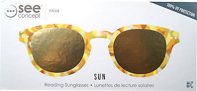 see concept Lese- Sonnenbrille Yellow Tortoise Yellow Mirror Lenses