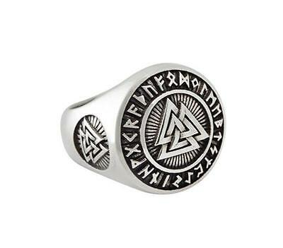 Sterling  Silver  (925)  Valknut  In  Rune  Circle  Ring   !!     Brand New  !!