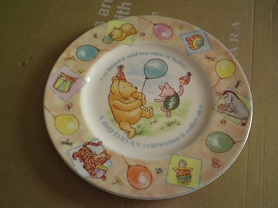 Royal Doulton Winnie the pooh collection plate,Birthday, approx 19.8 CMS, VGC.